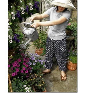 Japanese Kasuri Cotton Gardening Pants, Monpe