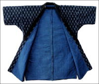 Antique Japanese Indigo Kasuri Lady Farmers Jacket