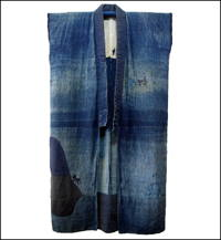 Long Solid Indigo Cotton Boro Sleeveless Jacket Coat Smock Sodenashi