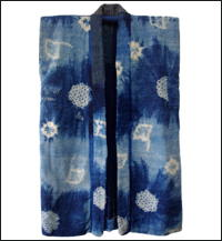 Long Shibori Indigo Cotton Boro Sleeveless Jacket Coat Sodenashi