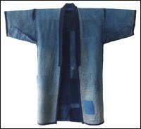 Boro Patched Sashiko Noragi Solid Indigo Farmer Jacket