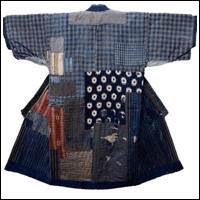 Boro Patchwork Noragi Indigo Farmer Kimono For Display