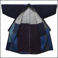 Wonderful Noragi Farmer Long Indigo Cotton Jacket Kimono Extensive Sashiko
