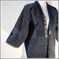 Interesting Early Boro Patchwork Noragi Indigo Cotton Farmer Jacket