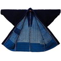 Fantastic Early Boro Patchwork Noragi Solid Indigo Cotton Farmer Jacket