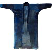 Exceptional Early Boro Patchwork Noragi Indigo Cotton Farmer Kimono Jacket