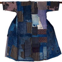 Fantastic Early Boro Patchwork Noragi Indigo Cotton Farmer Kimono