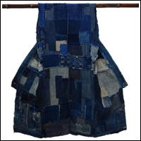 Farm Womans Patchwork Boro Noragi Cotton Sodenashi or Sleeveless Garment