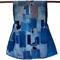 Wonderful Early Patchwork Boro Indigo Cotton Sodenashi Open Front Sleeveless Tunic