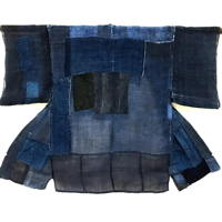 Very Nice Indigo Hemp Boro Farmer Jacket Noragi