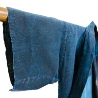Simple Japanese Farmer Noragi Solid Indigo Hemp  Cotton Mixed Weave Jacket