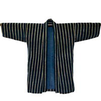 Basic Japanese Farmer Noragi Stripe Indigo Cotton Jacket