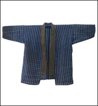 Mixed Hemp  Cotton Indigo Stripe Short Jacket
