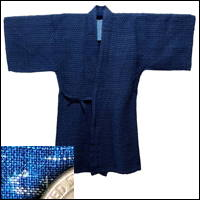 Old Indigo Kasuri Hemp Uwagi KimonoLike Jacket