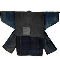 Wonderful Japanese Farmer Boro Long Jacket Cotton Extensive Sashiko Noragi