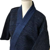 Fantastic Early Sakiori Noragi Solid Indigo Cotton Farmer Jacket