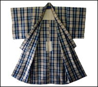 Old Indigo Cotton Kimono Check Design