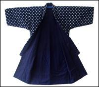 Old Indigo Cotton Kimono Kasuri Design