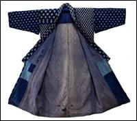 Old Indigo Cotton Kimono Kasuri Patchwork Boro