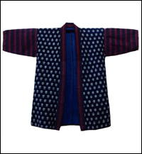 Indigo Kasuri  Stripe Sashiko Farmers Cotton Jacket
