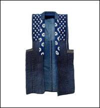 Exceptional Cotton Indigo Sashiko Kasuri Farmers Vest