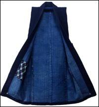 Cotton Indigo Sashiko Kasuri  Stripe Farmers Vest