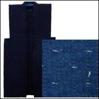 Cotton Indigo Sashiko Subtle Kasuri Farmers Vest