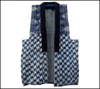 Vintage Cotton And Hemp Kasuri Indigo Vest