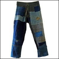 Japanese Vintage Boro Cotton Trousers Indigo Patches