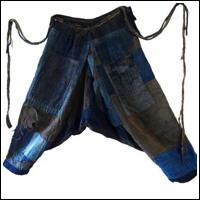 Indigo Cotton Boro Momohiki Worker Trousers Umanori Hakama Style