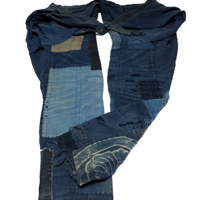 Exceptional Indigo Cotton Boro Momohiki Worker Trouser Pants