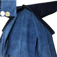 Magnificent Farmer Sashiko Long Jacket Solid Indigo Cotton