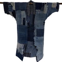 Spectacular Early Noragi Indigo Cotton Farmer JacketKimono