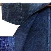 Wow  Elaborately Stitched Farmers Sashiko Solid Indigo Cotton Noragi Jacket