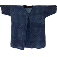 Lady Farmers ShirtJacket Indigo Hemp Katazome Pattern