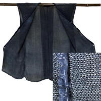 Unique Porous Mesh Indigo Hemp Sleeveless Garment sodenashi