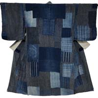 Boro Patchwork Farmers Indigo Cotton Noragi Long Jacket Kimono