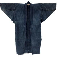 Outstanding Farmers Solid Indigo Cotton Noragi Long Jacket Kimono