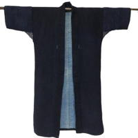 Wonderful Sashiko Farmers Solid Indigo Cotton Noragi Long Jacket Kimono