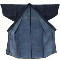 Outstanding Farmers Indigo Cotton Noragi Long Jacket Kimono Small Pattern Kasuri