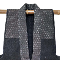 Solid Cotton Indigo Overflowing Sashiko Farmers Vest Hemp Accents
