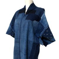 Boro Noragi Solid Indigo Cotton Farmer Jacket DIY Project