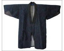 Indigo Thin Shima Stripe Sashiko Farmers Jacket