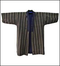 Large Size Shima Stripe Sashiko Cotton Sashiko Farmers Jacket