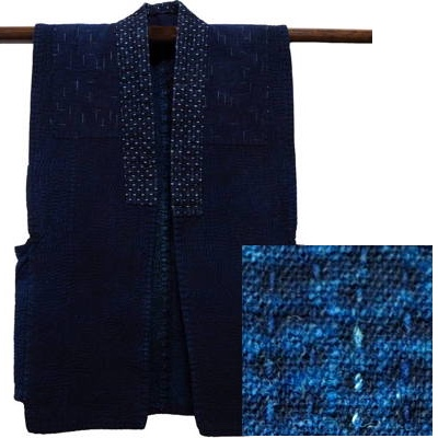Wonderful Cotton Indigo Sashiko Farmers Vest