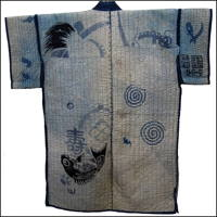 Charming Noragi Indigo Farmer Jacket Sashiko Stitching