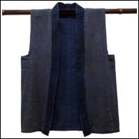 Old Thin Stripe Cotton Indigo Handmade Imperfect Vest DIY Project