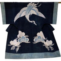 Visually Splendid Antique Tsutsugaki Indigo Cotton Yogi Sleeping Garment