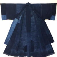 Exceptionally Large  Dramatic Antique Boro Solid Indigo Cotton Yogi Sleeping Garment Liner