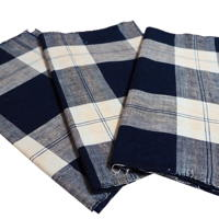 Set Of 3 Imperfect Indigo Cotton Check Textile Panels